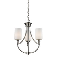 Z-Lite Cannondale 3 Light Chandelier in Brushed Nickel/Matte Opal 2102-3