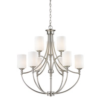 Z-Lite Cannondale 9 Light Chandelier in Brushed Nickel/Matte Opal 2102-9