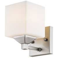 Quube 1 Light 6 inch Brushed Nickel Vanity Light Wall Light in Brushed Nickel and Matte Opal