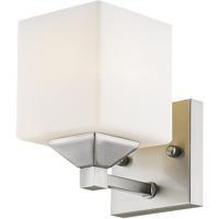 Z-Lite 2104-1V Quube 1 Light 6 inch Brushed Nickel Vanity Wall Light in Brushed Nickel and Matte Opal