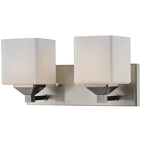 Quube 2 Light 17 inch Brushed Nickel Vanity Light Wall Light in Brushed Nickel and Matte Opal