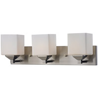 Quube 3 Light 24 inch Brushed Nickel Vanity Light Wall Light in Brushed Nickel and Matte Opal