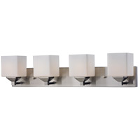 Quube 4 Light 30 inch Brushed Nickel Vanity Light Wall Light in Brushed Nickel and Matte Opal