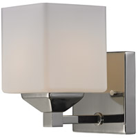 Z-Lite 2105-1V Quube 1 Light 6 inch Chrome Vanity Light Wall Light in Chrome and Matte Opal