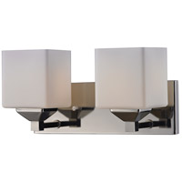 Quube 2 Light 17 inch Chrome Vanity Light Wall Light in Chrome and Matte Opal