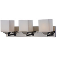 Quube 3 Light 24 inch Chrome Vanity Light Wall Light in Chrome and Matte Opal