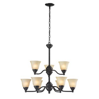 Z-Lite Athena 9 Light Chandelier in Bronze 2114-9