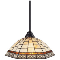 Riviera 1 Light 14 inch Bronze Pendant Ceiling Light in Multi Colored Tiffany Glass (35)