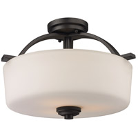 Arlington 3 Light 16 inch Bronze Semi Flush Mount Ceiling Light