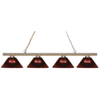 Z-Lite 24204PB-ARBG Sharp Shooter 4 Light 86 inch Polished Brass Island/Billiard Light Ceiling Light in Burgundy Acrylic 14