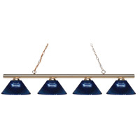 Z-Lite 24204PB-ARDB Sharp Shooter 4 Light 86 inch Polished Brass Island/Billiard Light Ceiling Light in Dark Blue Acrylic 14
