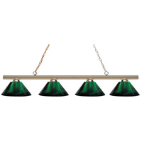 Z-Lite 24204PB-ARG Sharp Shooter 4 Light 86 inch Polished Brass Island/Billiard Light Ceiling Light in Green Acrylic 14