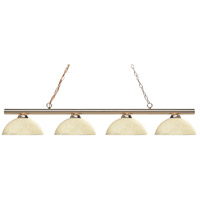 Z-Lite 24204PB-DGM14 Sharp Shooter 4 Light 86 inch Polished Brass Island/Billiard Light Ceiling Light in Dome Golden Mottle Glass 22