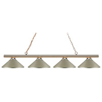 Z-Lite 24204PB-MAS Sharp Shooter 4 Light 86 inch Polished Brass Island/Billiard Light Ceiling Light in 18 Antique Silver Steel