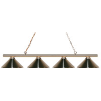 Z-Lite 24204PB-MBN Sharp Shooter 4 Light 86 inch Polished Brass Island/Billiard Ceiling Light in Metal Brushed Nickel 18