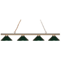Z-Lite 24204PB-MDG Sharp Shooter 4 Light 86 inch Polished Brass Island/Billiard Ceiling Light in 18 Dark Green Steel