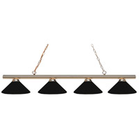 Z-Lite 24204PB-MMB Sharp Shooter 4 Light 86 inch Polished Brass Island/Billiard Light Ceiling Light in 18 Matte Black Steel