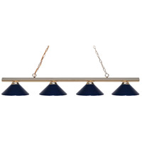 Z-Lite 24204PB-MNB Sharp Shooter 4 Light 86 inch Polished Brass Island/Billiard Ceiling Light in 18 Navy Blue Steel
