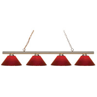 Z-Lite 24204PB-PRD Sharp Shooter 4 Light 86 inch Polished Brass Island/Billiard Light Ceiling Light in Red Plastic 14
