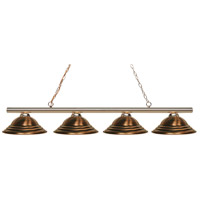 Z-Lite 24204PB-SAC Sharp Shooter 4 Light 88 inch Polished Brass Island/Billiard Light Ceiling Light in Antique Copper Steel 19