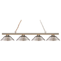 Z-Lite 24204PB-SBN Sharp Shooter 4 Light 88 inch Polished Brass Island/Billiard Light Ceiling Light in Stepped Brushed Nickel 19