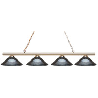 Z-Lite 24204PB-SGM Sharp Shooter 4 Light 88 inch Polished Brass Island/Billiard Light Ceiling Light in 19 Gun Metal Steel