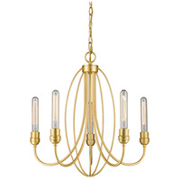 Persis 5 Light 22 inch Satin Gold Chandelier Ceiling Light