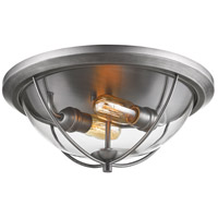 Persis 2 Light 15 inch Old Silver Flush Mount Ceiling Light