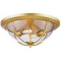 Persis 2 Light 15 inch Satin Gold Flush Mount Ceiling Light