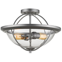 Persis 2 Light 15 inch Old Silver Semi Flush Mount Ceiling Light