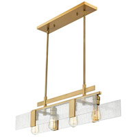 Z-Lite 3002-32VBRS Gantt 4 Light 32 inch Vintage Brass Island/Billiard Ceiling Light