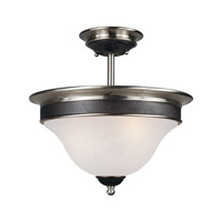 Z-Lite Dynasty 3 Light Semi-Flush Mount in Satin Nickel/Black 304SF photo thumbnail