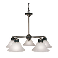 Z-Lite Dynasty 5 Light Chandelier in Satin Nickel/Black 310-5