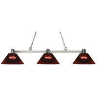 Park 3 Light 53 inch Brushed Nickel Island Light Ceiling Light in Acrylic Burgundy