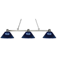Park 3 Light 53 inch Brushed Nickel Island Light Ceiling Light in Acrylic Dark Blue