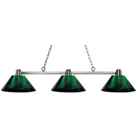 Park 3 Light 53 inch Brushed Nickel Island Light Ceiling Light in Acrylic Green