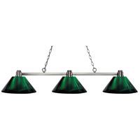 Z-Lite 314BN-ARG Park 3 Light 53 inch Brushed Nickel Island Light Ceiling Light in Acrylic Green