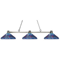 Park 3 Light 56 inch Brushed Nickel Island Light Ceiling Light in Multi Colored Tiffany Glass (D16)