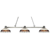 Park 3 Light 53 inch Brushed Nickel Island Light Ceiling Light in Multi Colored Tiffany Glass (F14-1)