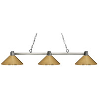 Park 3 Light 53 inch Brushed Nickel Island Light Ceiling Light in Polished Brass Metal