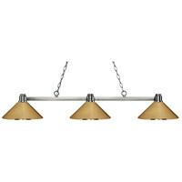 Z-Lite 314BN-MPB Park 3 Light 53 inch Brushed Nickel Island Light Ceiling Light in Polished Brass Metal