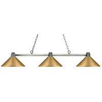 Park 3 Light 53 inch Brushed Nickel Island Light Ceiling Light
