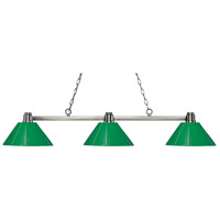 Park 3 Light 53 inch Brushed Nickel Island Light Ceiling Light in Green Plastic