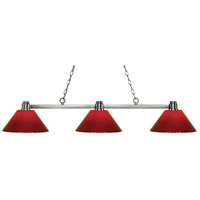 Park 3 Light 53 inch Brushed Nickel Island Light Ceiling Light in Red Plastic