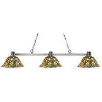 Park 3 Light 53 inch Brushed Nickel Island Light Ceiling Light in Multi Colored Tiffany Glass (R14A)