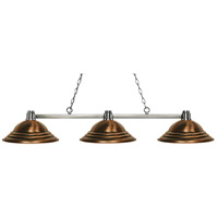 Park 3 Light 55 inch Brushed Nickel Island Light Ceiling Light in Stepped Antique Copper