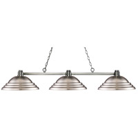 Park 3 Light 55 inch Brushed Nickel Island Light Ceiling Light in Stepped Brushed Nickel