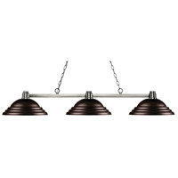 Park 3 Light 55 inch Brushed Nickel Island Light Ceiling Light in Stepped Bronze