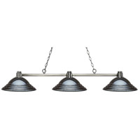 Park 3 Light 55 inch Brushed Nickel Island Light Ceiling Light in Stepped Gun Metal