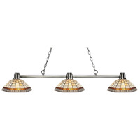 Park 3 Light 53 inch Brushed Nickel Island Light Ceiling Light in Multi Colored Tiffany Glass (35)